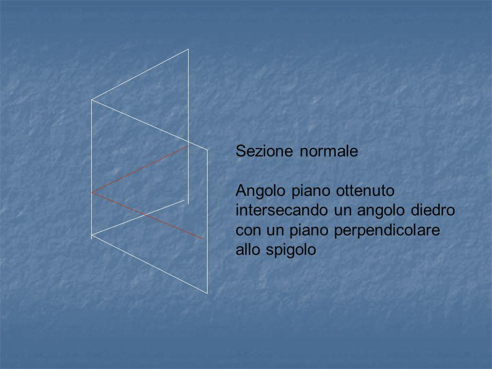 Sezione normale Angolo piano ottenuto intersecando un angolo diedro con un piano perpendicolare allo spigolo