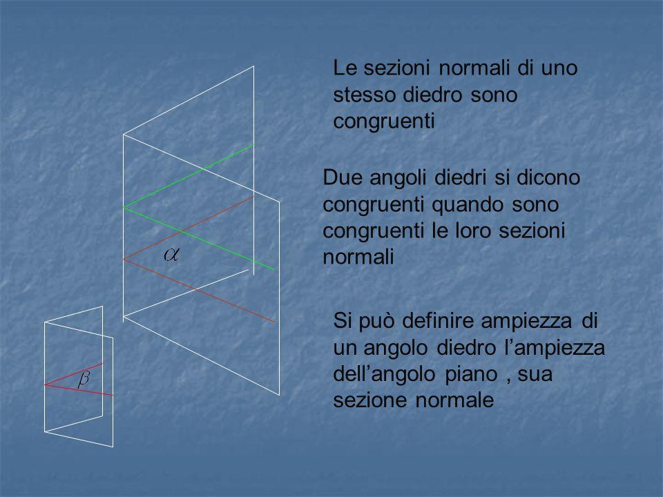 Le sezioni normali di uno stesso diedro sono congruenti Due angoli diedri si dicono congruenti quando sono congruenti le loro sezioni normali Si può d