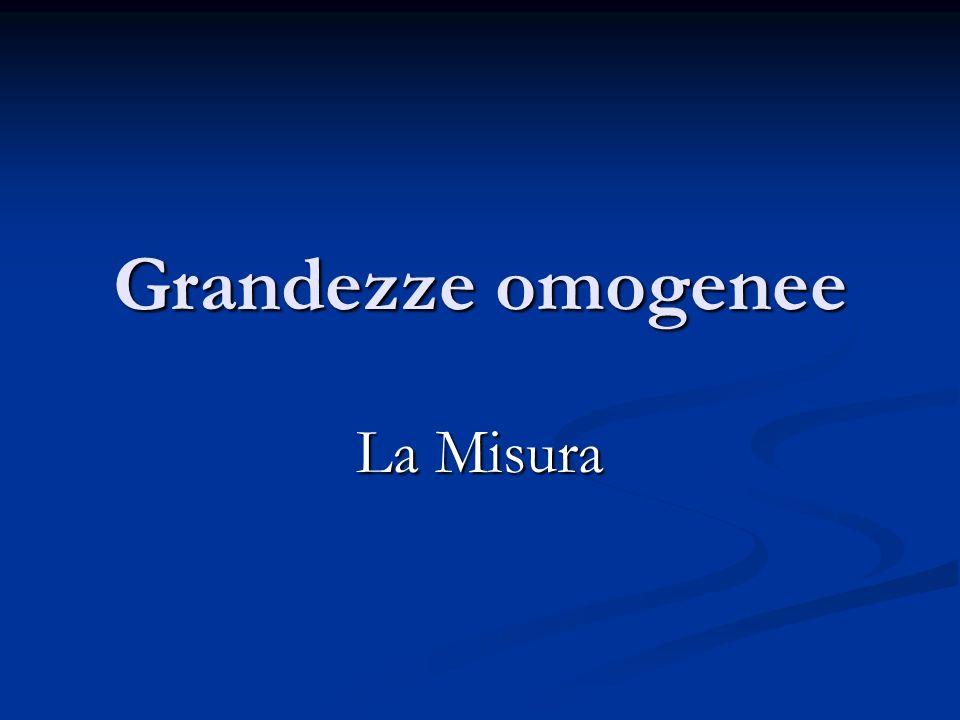 Grandezze omogenee La Misura