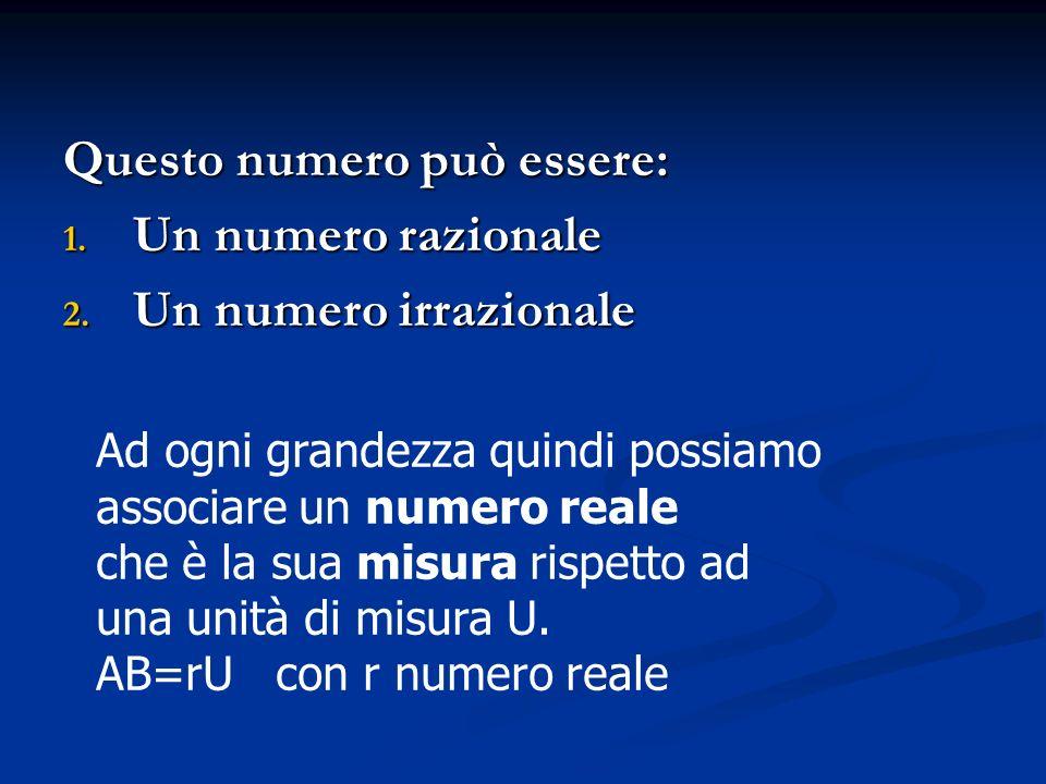 Questo numero può essere: 1. U n numero razionale 2. U n numero irrazionale Ad ogni grandezza quindi possiamo associare un numero reale che è la sua m