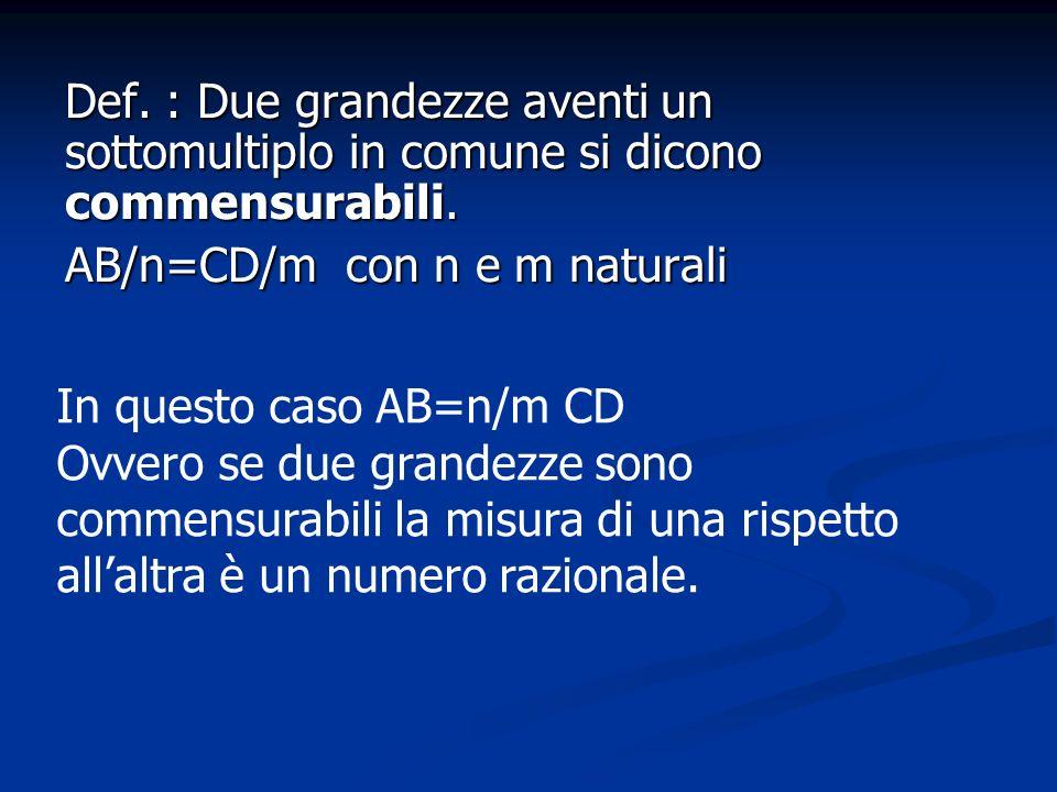 Def. : Due grandezze aventi un sottomultiplo in comune si dicono commensurabili. AB/n=CD/m con n e m naturali In questo caso AB=n/m CD Ovvero se due g