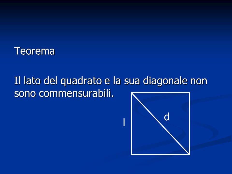 Teorema Il lato del quadrato e la sua diagonale non sono commensurabili. l d