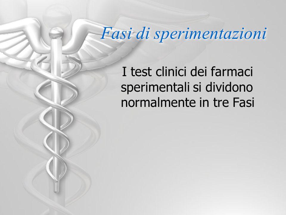 Fasi di sperimentazioni I test clinici dei farmaci sperimentali si dividono normalmente in tre Fasi