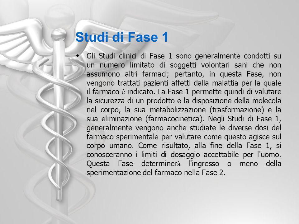 Studi di Fase 1 Gli Studi clinici di Fase 1 sono generalmente condotti su un numero limitato di soggetti volontari sani che non assumono altri farmaci