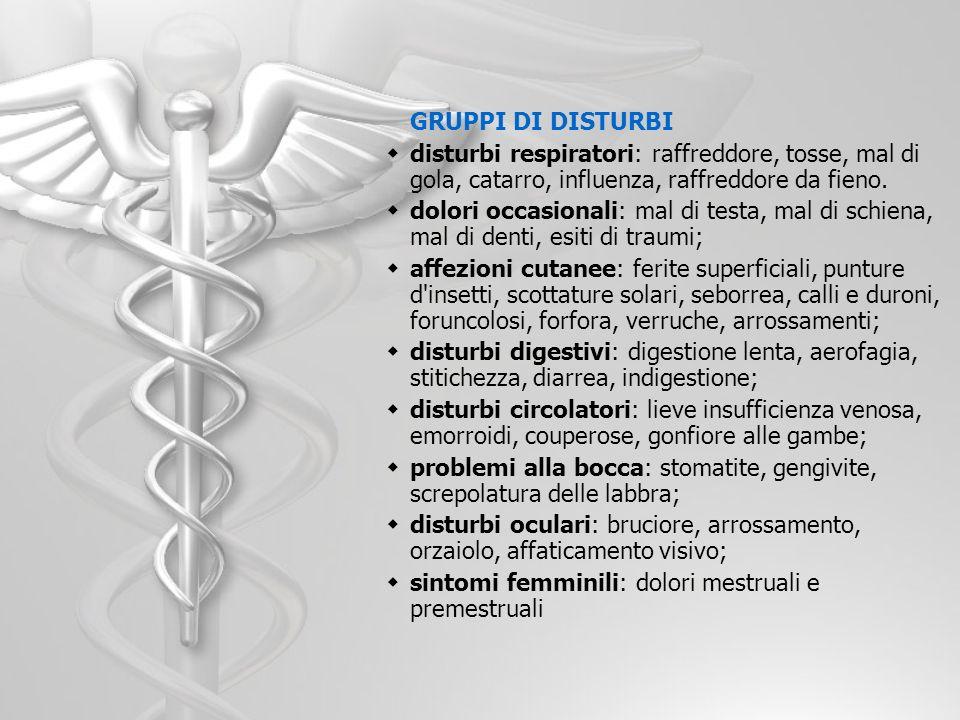 GRUPPI DI DISTURBI disturbi respiratori: raffreddore, tosse, mal di gola, catarro, influenza, raffreddore da fieno. dolori occasionali: mal di testa,