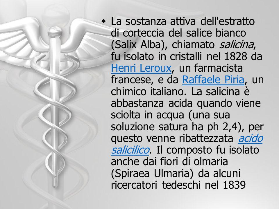La sostanza attiva dell'estratto di corteccia del salice bianco (Salix Alba), chiamato salicina, fu isolato in cristalli nel 1828 da Henri Leroux, un