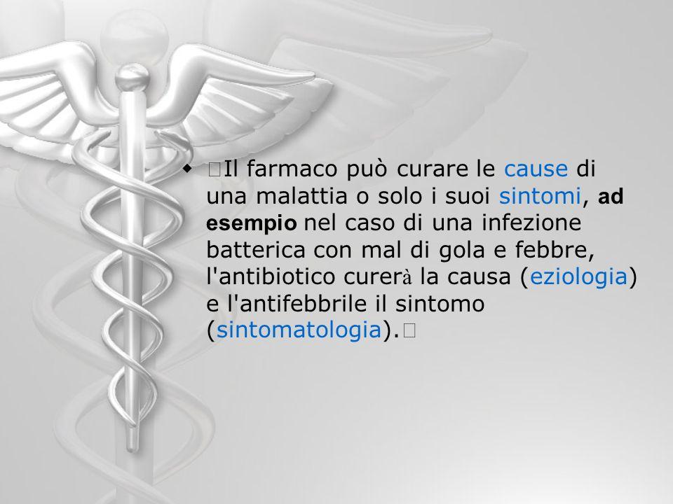 Il farmaco può curare le cause di una malattia o solo i suoi sintomi, ad esempio nel caso di una infezione batterica con mal di gola e febbre, l'antib