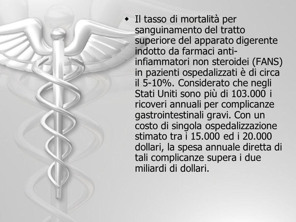 Il tasso di mortalità per sanguinamento del tratto superiore del apparato digerente indotto da farmaci anti- infiammatori non steroidei (FANS) in pazi