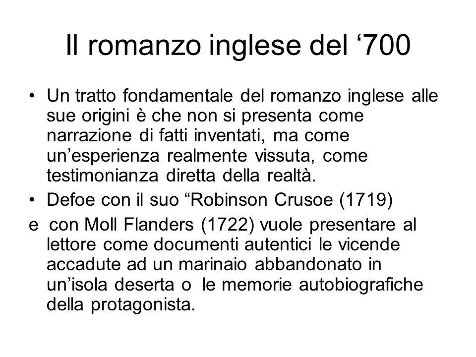Il romanzo inglese del 700 Un tratto fondamentale del romanzo inglese alle sue origini è che non si presenta come narrazione di fatti inventati, ma co