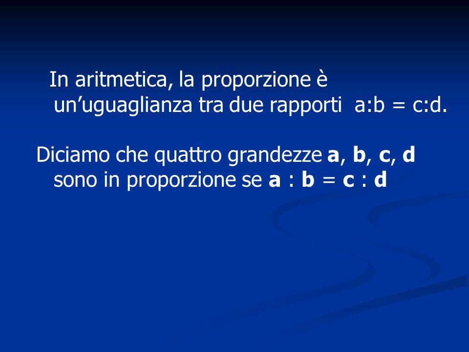 In aritmetica, la proporzione è unuguaglianza tra due rapporti a:b = c:d. Diciamo che quattro grandezze a, b, c, d sono in proporzione se a : b = c :