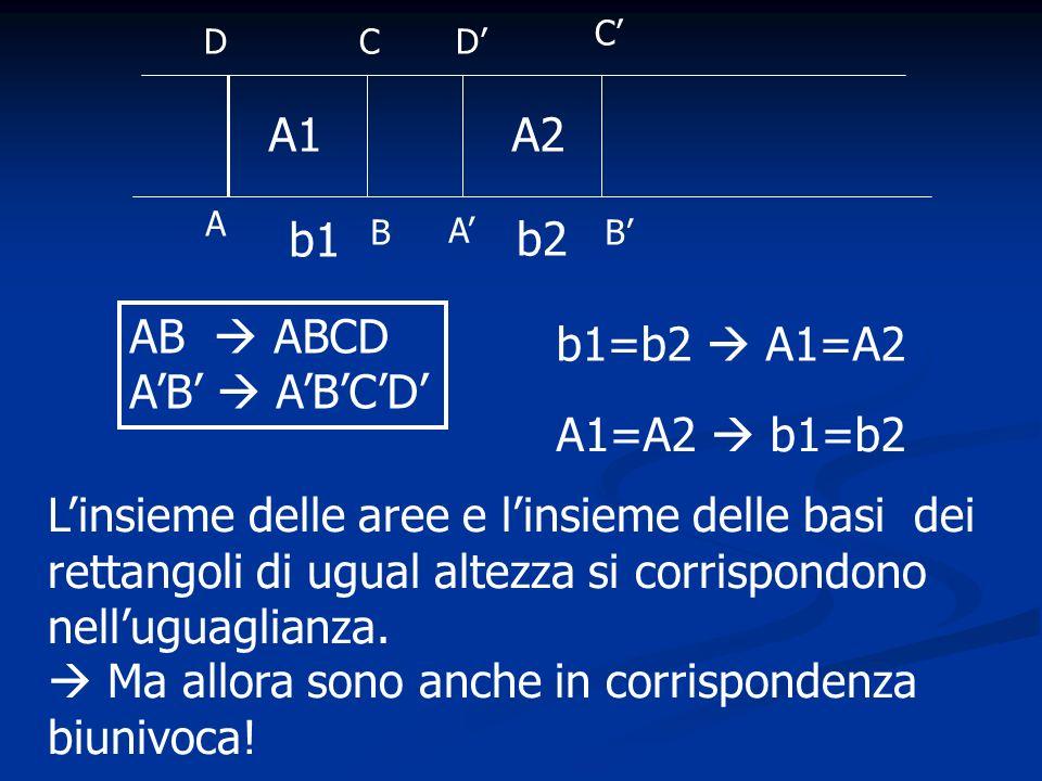 A1A2 b1 b2 A B DC A C D B b1=b2 A1=A2 AB ABCD A1=A2 b1=b2 Linsieme delle aree e linsieme delle basi dei rettangoli di ugual altezza si corrispondono n
