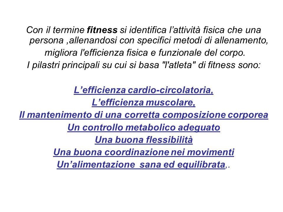 Con il termine fitness si identifica lattività fisica che una persona,allenandosi con specifici metodi di allenamento, migliora l'efficienza fisica e