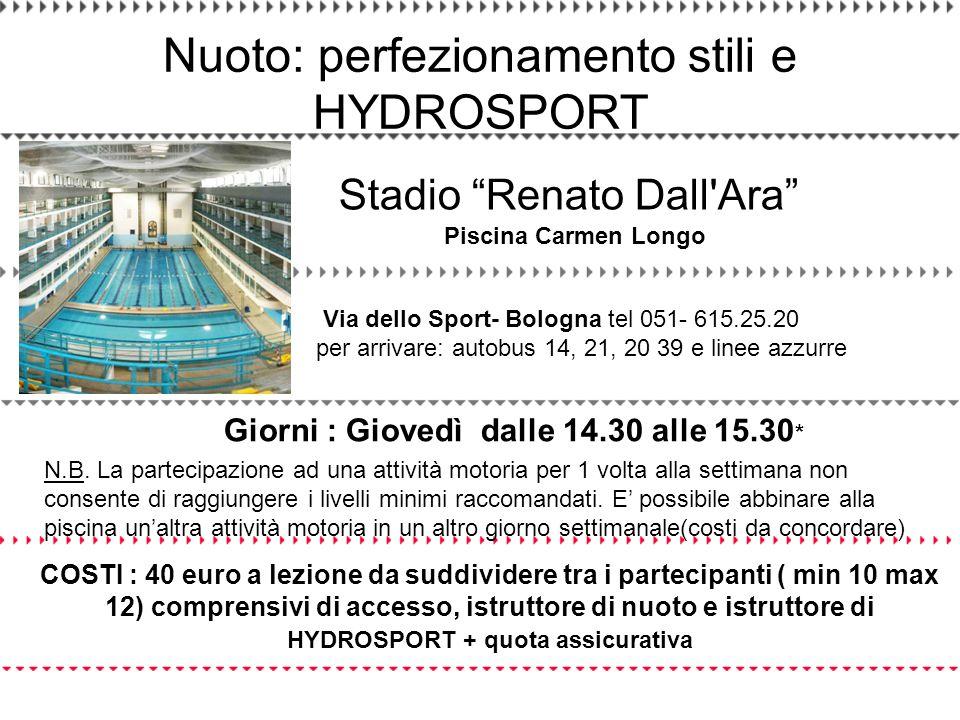 COSTI : 40 euro a lezione da suddividere tra i partecipanti ( min 10 max 12) comprensivi di accesso, istruttore di nuoto e istruttore di HYDROSPORT +