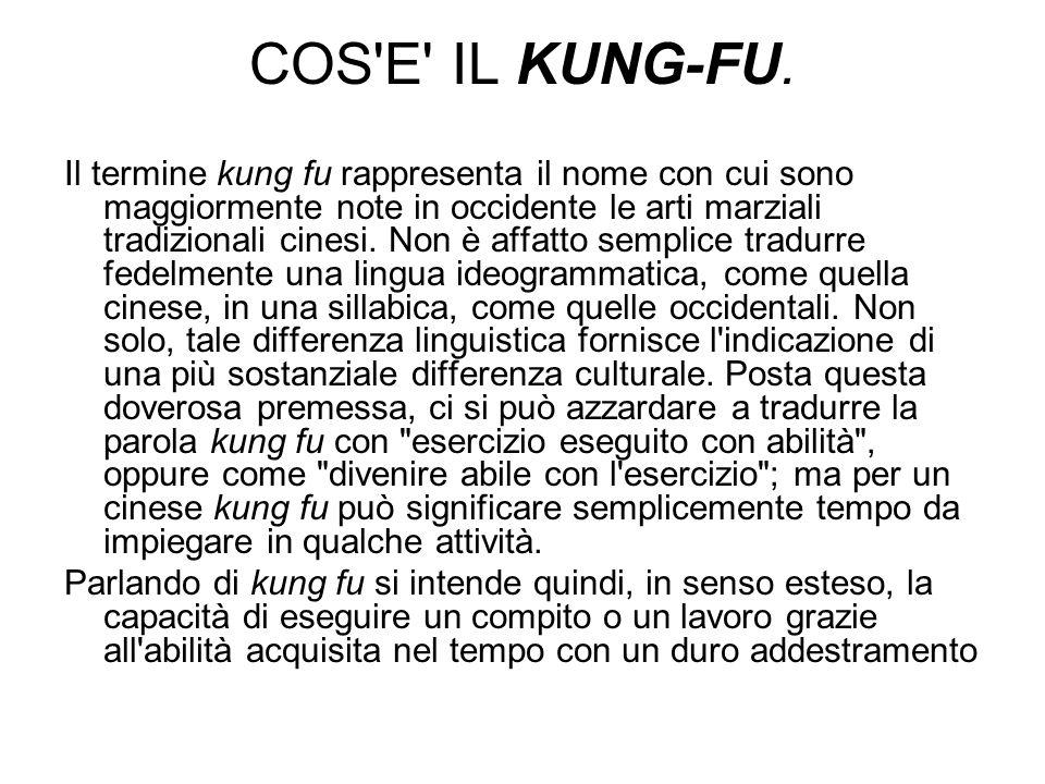 COS'E' IL KUNG-FU. Il termine kung fu rappresenta il nome con cui sono maggiormente note in occidente le arti marziali tradizionali cinesi. Non è affa