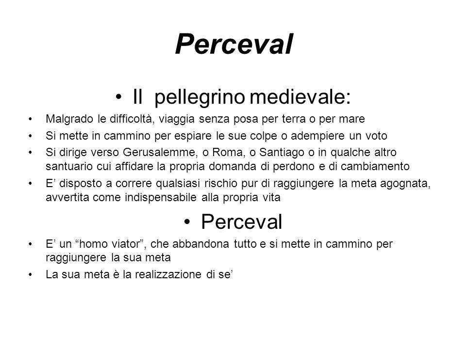 Perceval Il pellegrino medievale: Malgrado le difficoltà, viaggia senza posa per terra o per mare Si mette in cammino per espiare le sue colpe o ademp