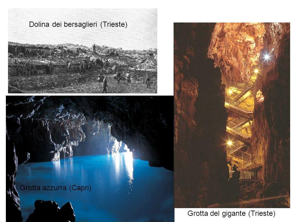 Grotta azzurra (Capri) Dolina dei bersaglieri (Trieste) Grotta del gigante (Trieste)