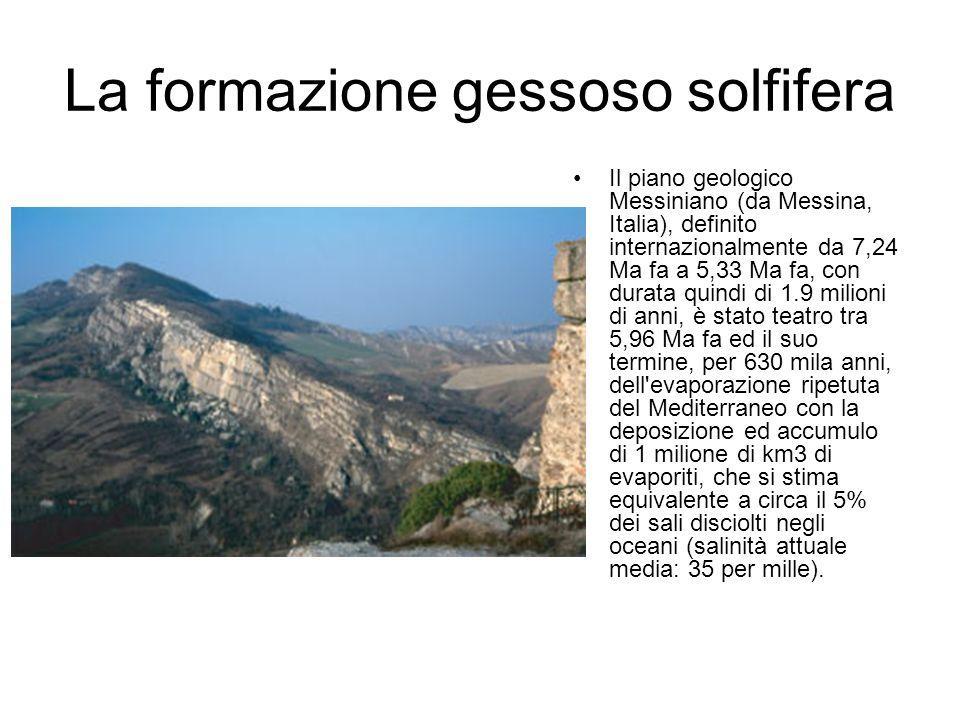 La formazione gessoso solfifera Il piano geologico Messiniano (da Messina, Italia), definito internazionalmente da 7,24 Ma fa a 5,33 Ma fa, con durata