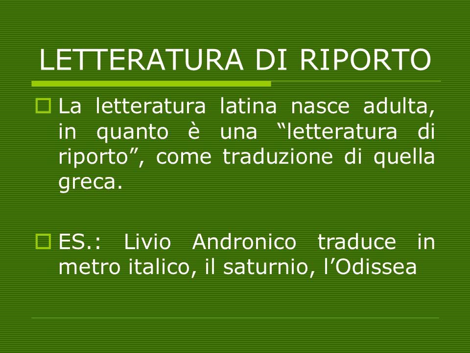 LETTERATURA DI RIPORTO La letteratura latina nasce adulta, in quanto è una letteratura di riporto, come traduzione di quella greca. ES.: Livio Androni