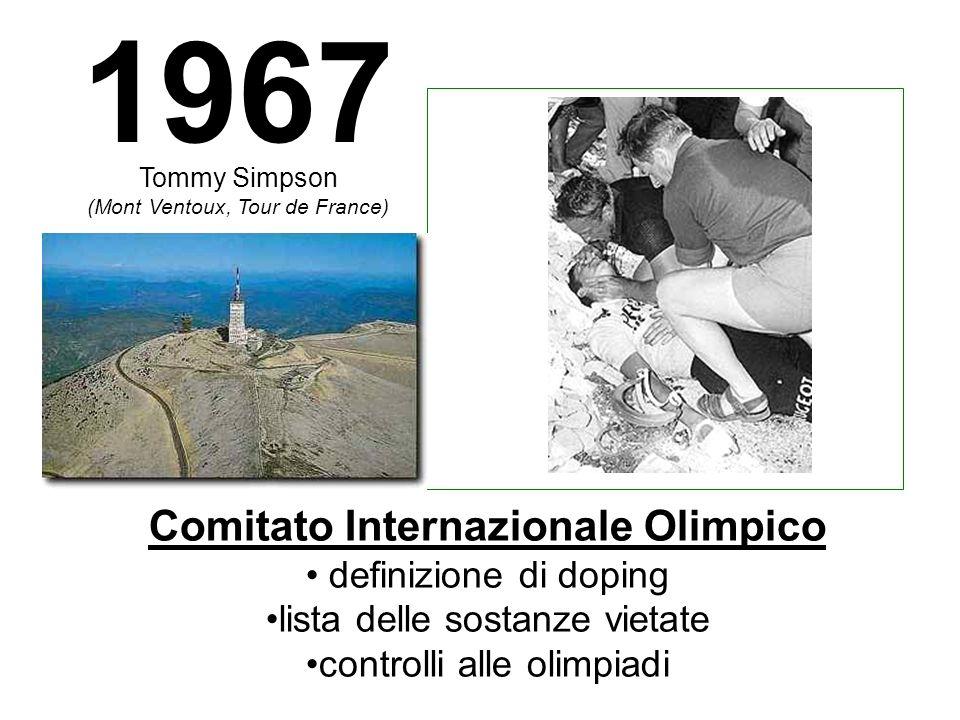 Tommy Simpson (Mont Ventoux, Tour de France) Comitato Internazionale Olimpico definizione di doping lista delle sostanze vietate controlli alle olimpiadi 1967