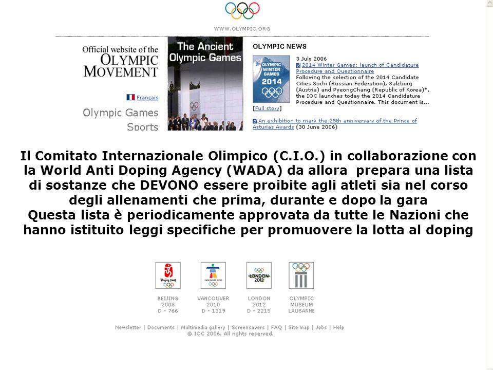 Il Comitato Internazionale Olimpico (C.I.O.) in collaborazione con la World Anti Doping Agency (WADA) da allora prepara una lista di sostanze che DEVO