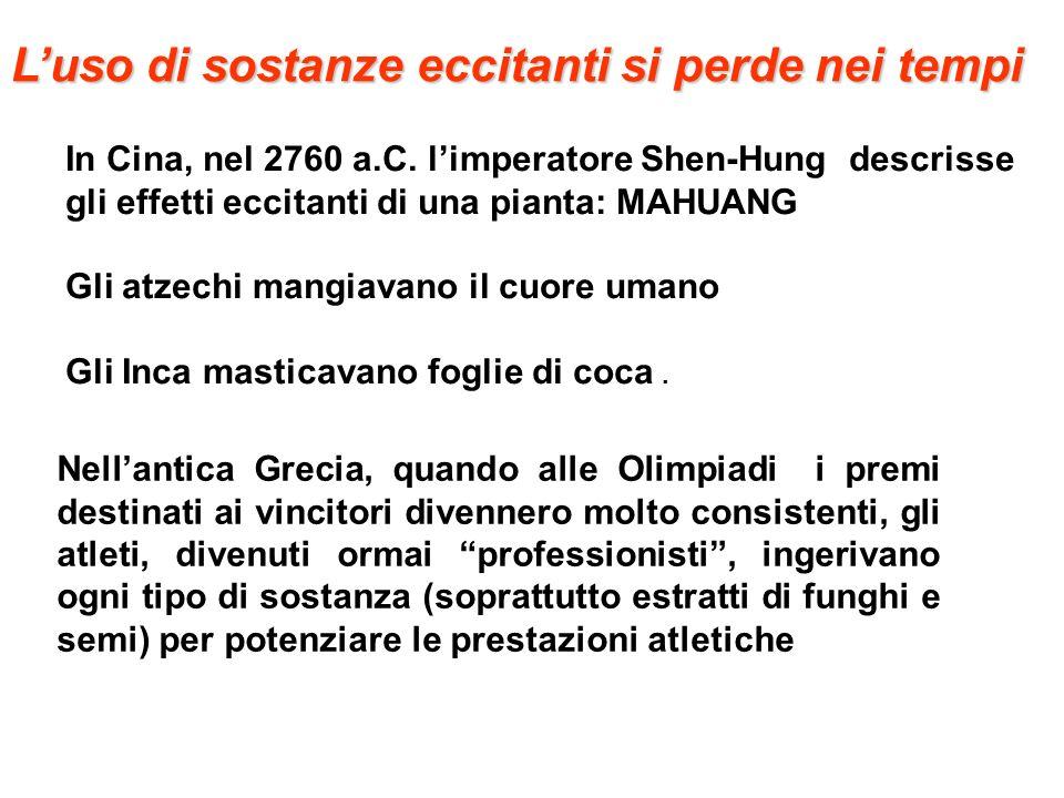 Luso di sostanze eccitanti si perde nei tempi In Cina, nel 2760 a.C. limperatore Shen-Hung descrisse gli effetti eccitanti di una pianta: MAHUANG Gli