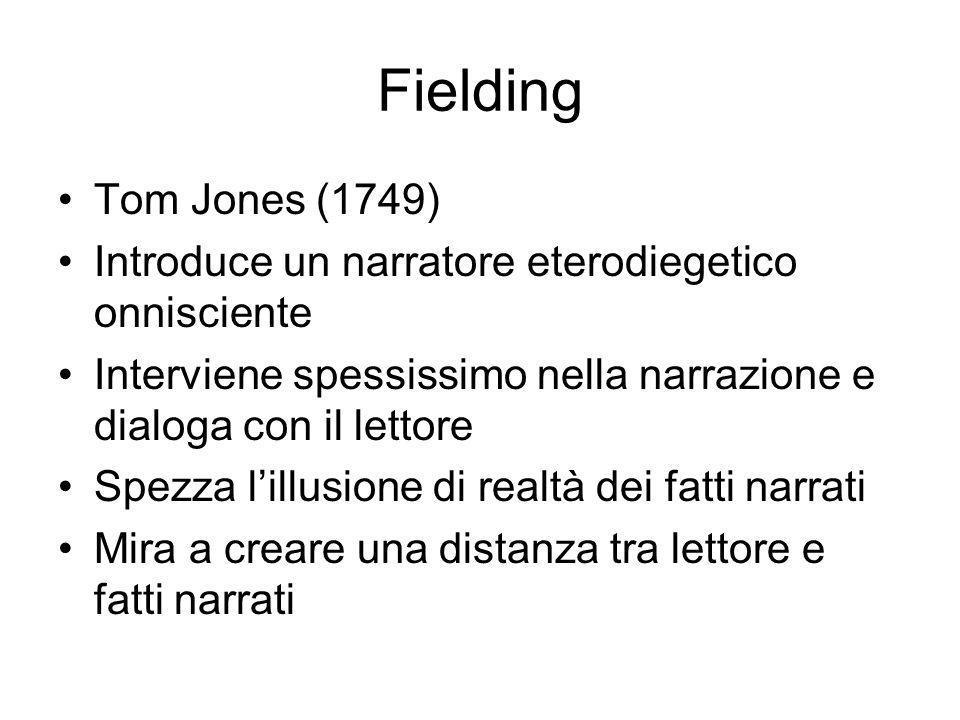 Fielding Tom Jones (1749) Introduce un narratore eterodiegetico onnisciente Interviene spessissimo nella narrazione e dialoga con il lettore Spezza lillusione di realtà dei fatti narrati Mira a creare una distanza tra lettore e fatti narrati