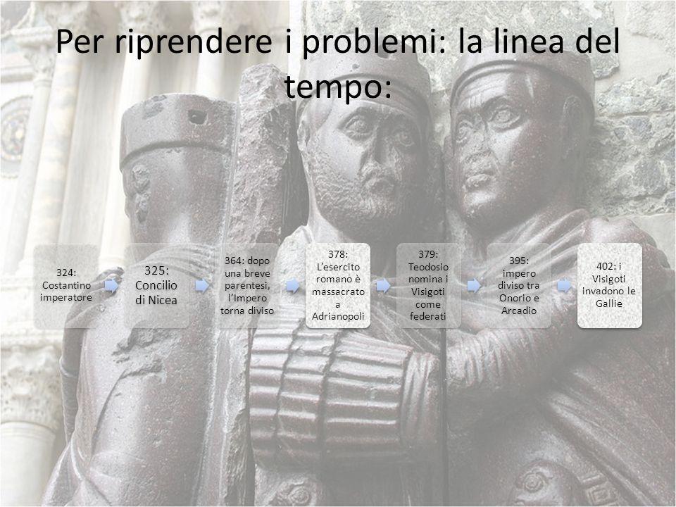 Per riprendere i problemi: la linea del tempo: 324: Costantino imperatore 325: Concilio di Nicea 364: dopo una breve parentesi, lImpero torna diviso 3