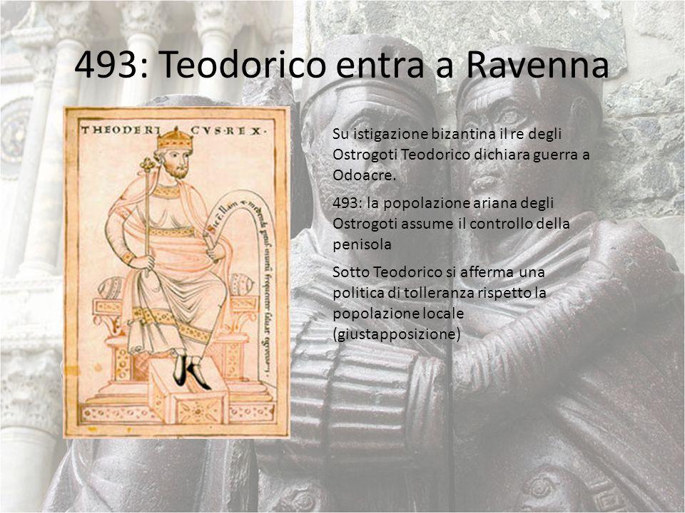 493: Teodorico entra a Ravenna Su istigazione bizantina il re degli Ostrogoti Teodorico dichiara guerra a Odoacre. 493: la popolazione ariana degli Os