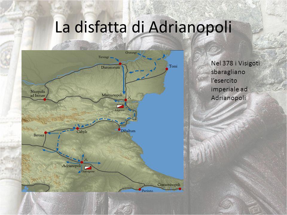 La caduta dellImpero in Occidente I Visigoti vengono nominati foederati dellimperatore di Oriente Nel 402 i Visigoti si spostano nelle Gallie Nel 410 viene saccheggiata Roma Nel 476 lultimo imperatore viene cacciato.