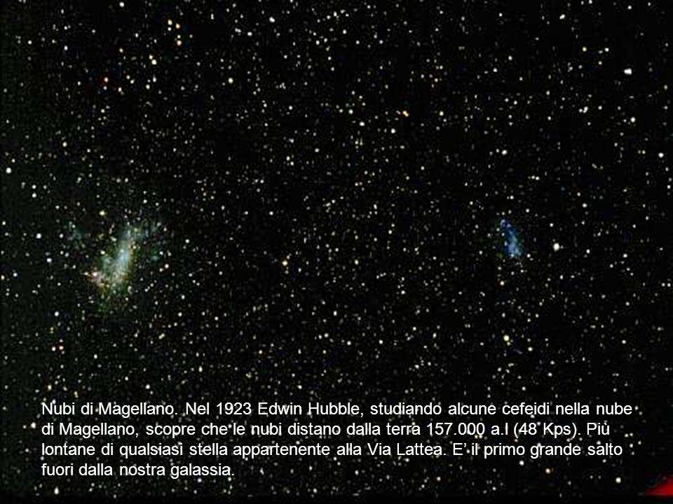 Nubi di Magellano. Nel 1923 Edwin Hubble, studiando alcune cefeidi nella nube di Magellano, scopre che le nubi distano dalla terra 157.000 a.l (48 Kps