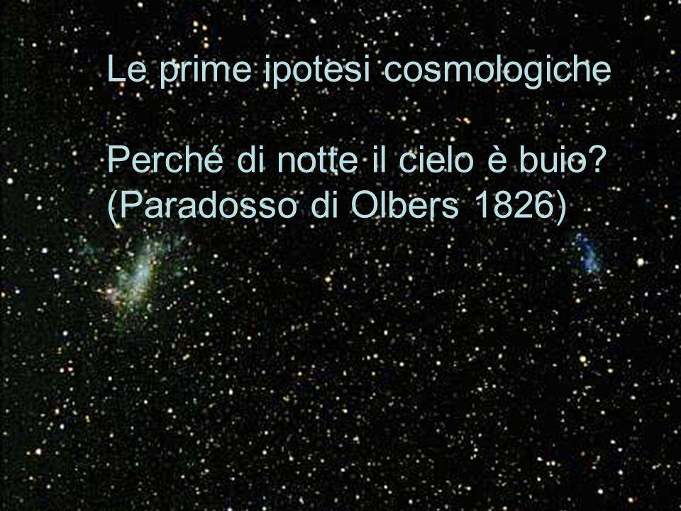 Le prime ipotesi cosmologiche Perché di notte il cielo è buio? (Paradosso di Olbers 1826)