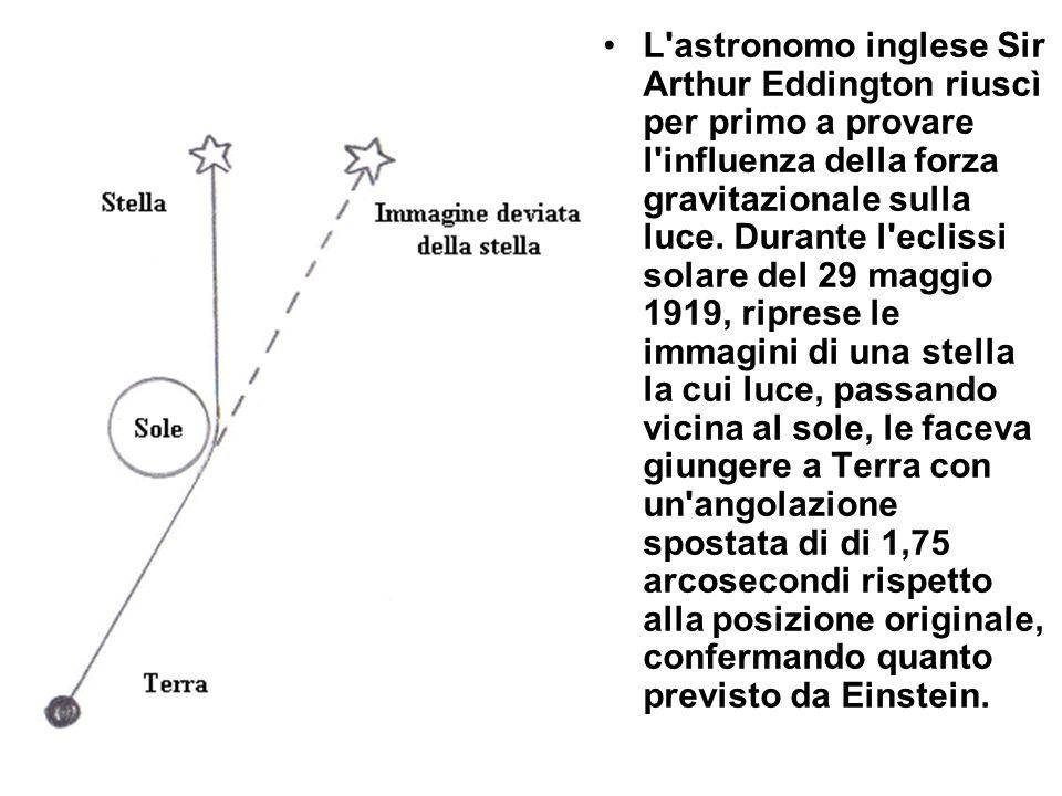 L'astronomo inglese Sir Arthur Eddington riuscì per primo a provare l'influenza della forza gravitazionale sulla luce. Durante l'eclissi solare del 29