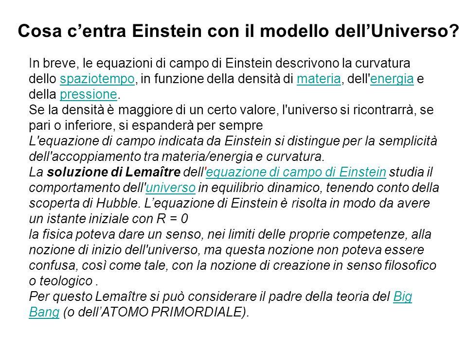In breve, le equazioni di campo di Einstein descrivono la curvatura dello spaziotempo, in funzione della densità di materia, dell'energia e della pres