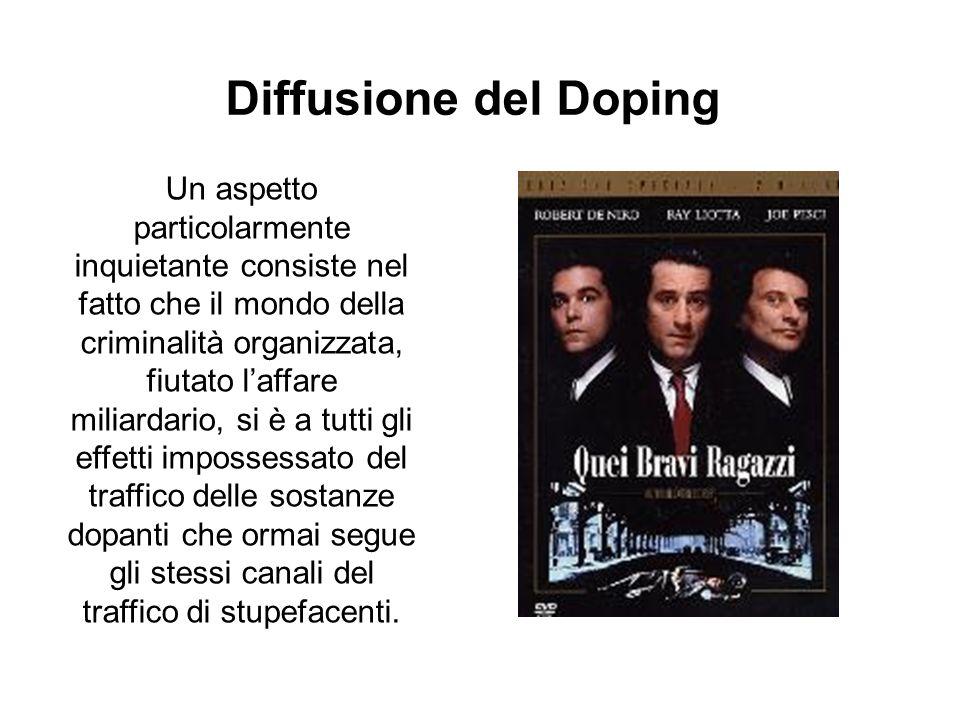 Diffusione del Doping Un aspetto particolarmente inquietante consiste nel fatto che il mondo della criminalità organizzata, fiutato laffare miliardari