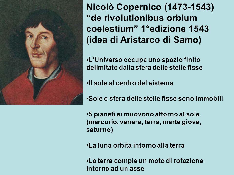 Nicolò Copernico (1473-1543) de rivolutionibus orbium coelestium 1°edizione 1543 (idea di Aristarco di Samo) LUniverso occupa uno spazio finito delimi