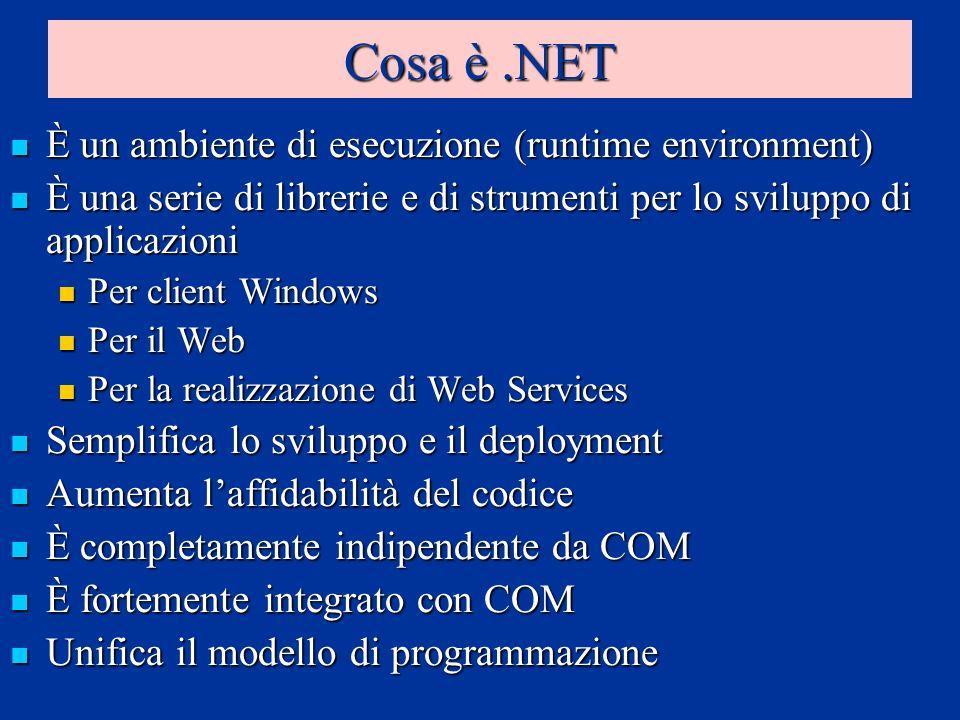 Cosa è.NET È un ambiente di esecuzione (runtime environment) È un ambiente di esecuzione (runtime environment) È una serie di librerie e di strumenti per lo sviluppo di applicazioni È una serie di librerie e di strumenti per lo sviluppo di applicazioni Per client Windows Per client Windows Per il Web Per il Web Per la realizzazione di Web Services Per la realizzazione di Web Services Semplifica lo sviluppo e il deployment Semplifica lo sviluppo e il deployment Aumenta laffidabilità del codice Aumenta laffidabilità del codice È completamente indipendente da COM È completamente indipendente da COM È fortemente integrato con COM È fortemente integrato con COM Unifica il modello di programmazione Unifica il modello di programmazione