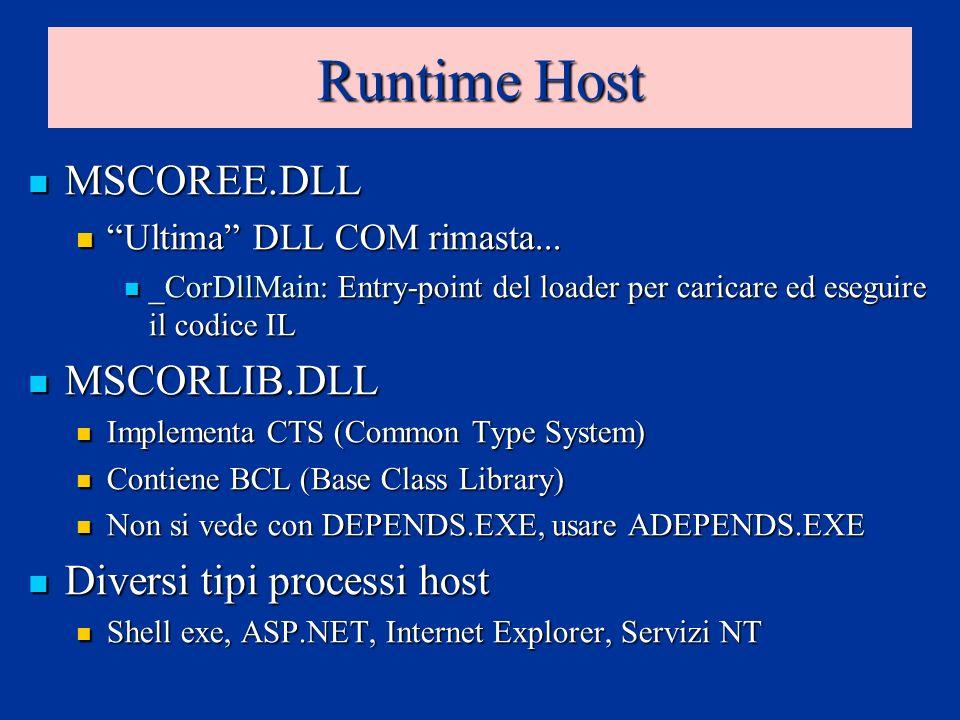 Runtime Host MSCOREE.DLL MSCOREE.DLL Ultima DLL COM rimasta... Ultima DLL COM rimasta... _CorDllMain: Entry-point del loader per caricare ed eseguire