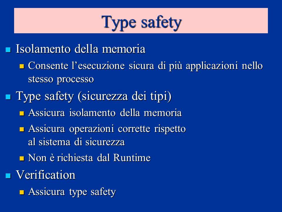 Type safety Isolamento della memoria Isolamento della memoria Consente lesecuzione sicura di più applicazioni nello stesso processo Consente lesecuzio
