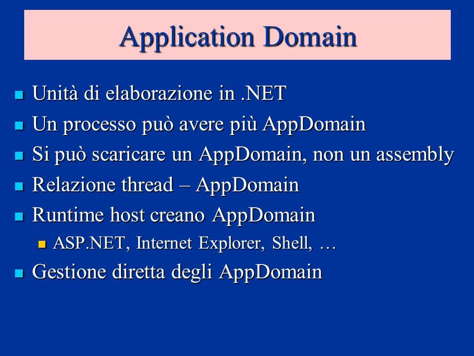 Application Domain Unità di elaborazione in.NET Unità di elaborazione in.NET Un processo può avere più AppDomain Un processo può avere più AppDomain Si può scaricare un AppDomain, non un assembly Si può scaricare un AppDomain, non un assembly Relazione thread – AppDomain Relazione thread – AppDomain Runtime host creano AppDomain Runtime host creano AppDomain ASP.NET, Internet Explorer, Shell, … ASP.NET, Internet Explorer, Shell, … Gestione diretta degli AppDomain Gestione diretta degli AppDomain