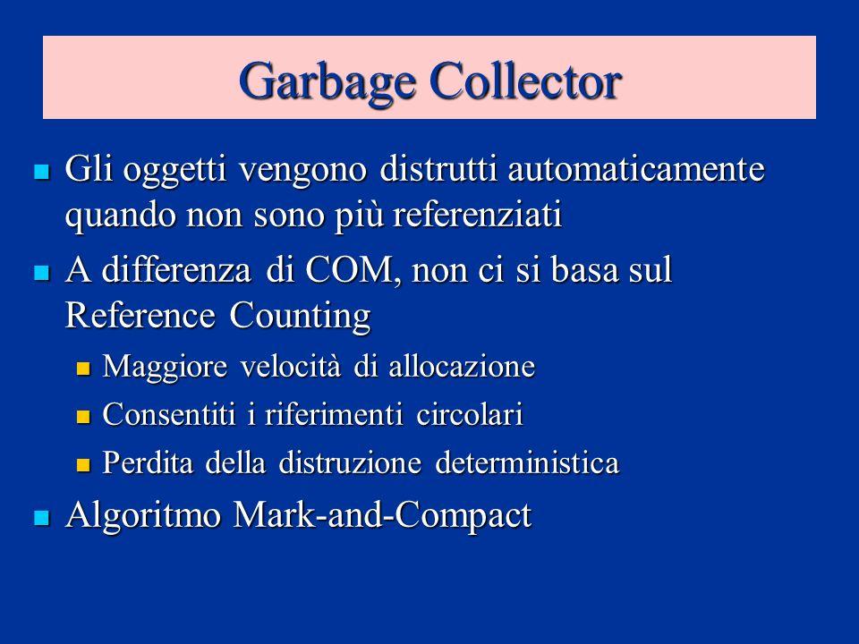 Garbage Collector Gli oggetti vengono distrutti automaticamente quando non sono più referenziati Gli oggetti vengono distrutti automaticamente quando