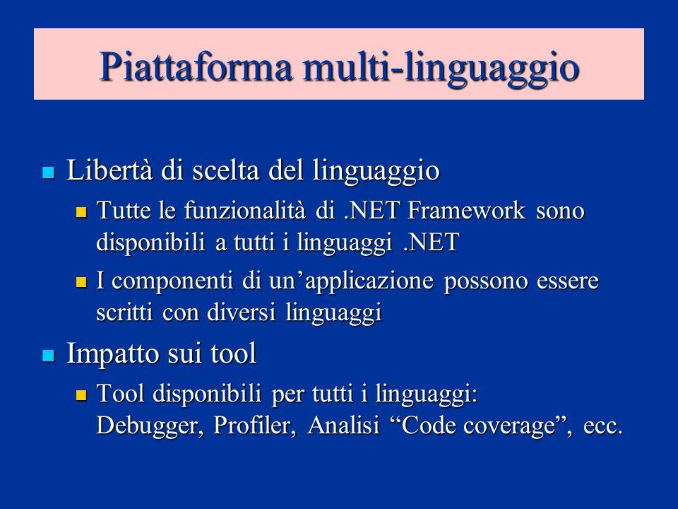 Piattaforma multi-linguaggio Libertà di scelta del linguaggio Libertà di scelta del linguaggio Tutte le funzionalità di.NET Framework sono disponibili