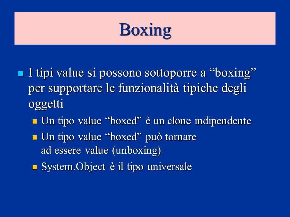 Boxing I tipi value si possono sottoporre a boxing per supportare le funzionalità tipiche degli oggetti I tipi value si possono sottoporre a boxing pe