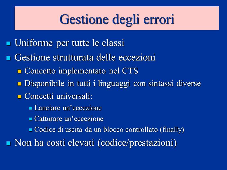 Gestione degli errori Uniforme per tutte le classi Uniforme per tutte le classi Gestione strutturata delle eccezioni Gestione strutturata delle eccezi