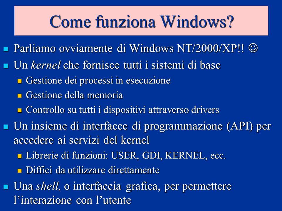 Le caratteristiche fondamentali Windows è un sistema multi-threading Windows è un sistema multi-threading Programmi e operazioni diverse possono essere eseguite in parallelo (se abbiamo più CPU..) Programmi e operazioni diverse possono essere eseguite in parallelo (se abbiamo più CPU..) Windows è un sistema basato sul concetto di memoria virtuale Windows è un sistema basato sul concetto di memoria virtuale Ogni programma ha a disposizione 4Gb di memoria fittizia Ogni programma ha a disposizione 4Gb di memoria fittizia Il sistema operativo si occupa di assegnare lo spazio nella memoria fisica e nel file di paginazione ai vari programmi Il sistema operativo si occupa di assegnare lo spazio nella memoria fisica e nel file di paginazione ai vari programmi I programmi non possono danneggiare il kernel I programmi non possono danneggiare il kernel I programmi sono isolati e non possono danneggiarsi tra loro I programmi sono isolati e non possono danneggiarsi tra loro