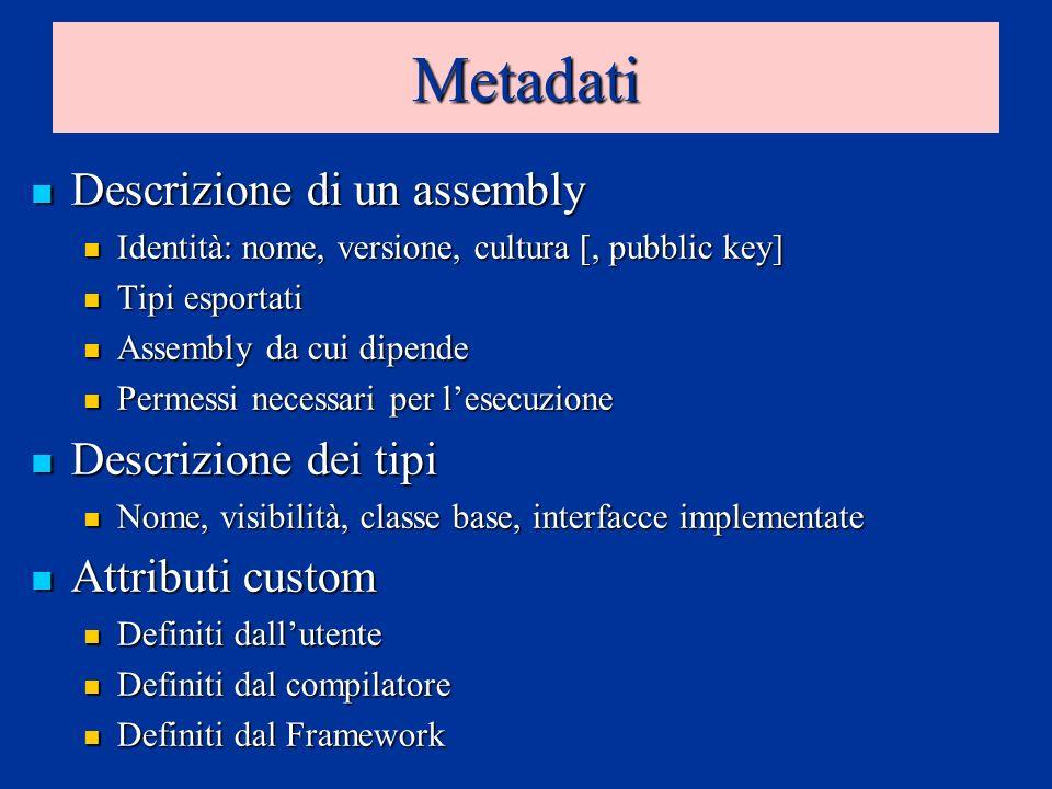 Metadati Descrizione di un assembly Descrizione di un assembly Identità: nome, versione, cultura [, pubblic key] Identità: nome, versione, cultura [,