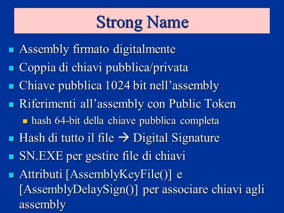 Strong Name Assembly firmato digitalmente Assembly firmato digitalmente Coppia di chiavi pubblica/privata Coppia di chiavi pubblica/privata Chiave pubblica 1024 bit nellassembly Chiave pubblica 1024 bit nellassembly Riferimenti allassembly con Public Token Riferimenti allassembly con Public Token hash 64-bit della chiave pubblica completa hash 64-bit della chiave pubblica completa Hash di tutto il file Digital Signature Hash di tutto il file Digital Signature SN.EXE per gestire file di chiavi SN.EXE per gestire file di chiavi Attributi [AssemblyKeyFile()] e [AssemblyDelaySign()] per associare chiavi agli assembly Attributi [AssemblyKeyFile()] e [AssemblyDelaySign()] per associare chiavi agli assembly