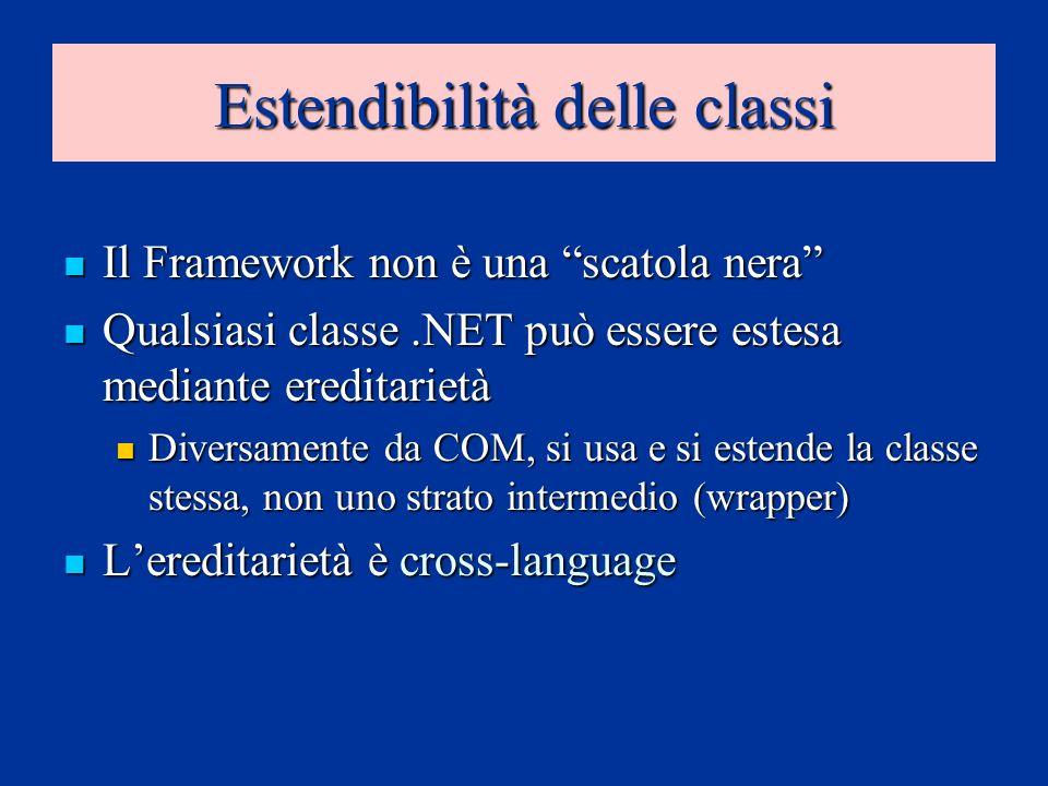 Estendibilità delle classi Il Framework non è una scatola nera Il Framework non è una scatola nera Qualsiasi classe.NET può essere estesa mediante ere