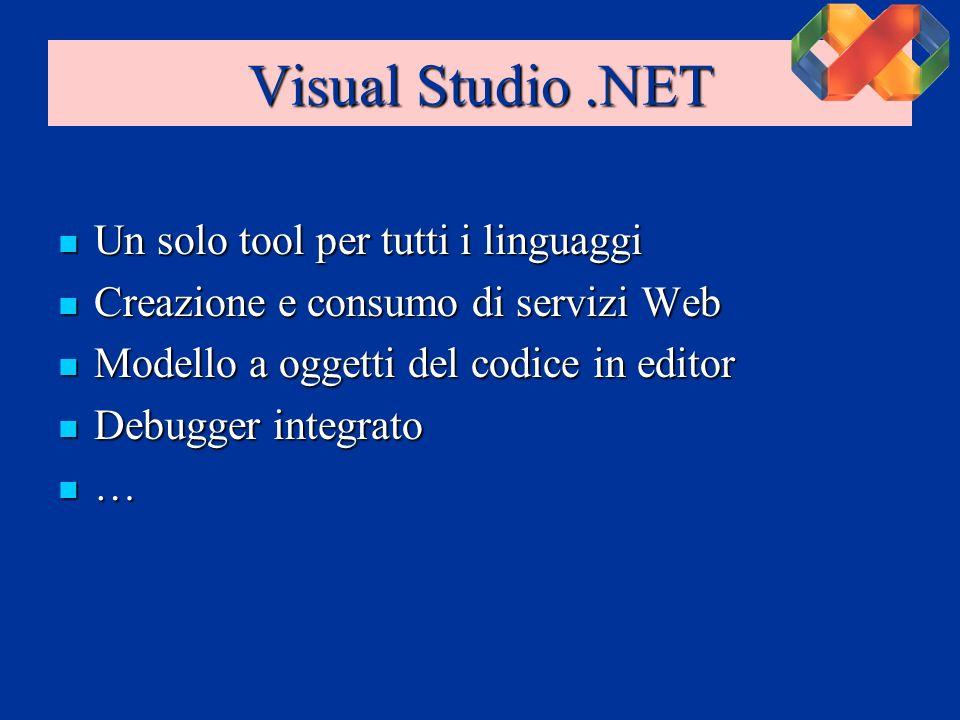 Visual Studio.NET Un solo tool per tutti i linguaggi Un solo tool per tutti i linguaggi Creazione e consumo di servizi Web Creazione e consumo di servizi Web Modello a oggetti del codice in editor Modello a oggetti del codice in editor Debugger integrato Debugger integrato …