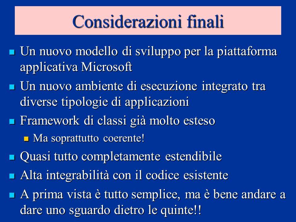 Considerazioni finali Un nuovo modello di sviluppo per la piattaforma applicativa Microsoft Un nuovo modello di sviluppo per la piattaforma applicativ