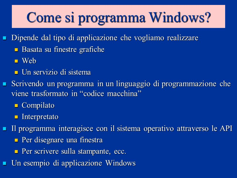 Come si programma Windows.